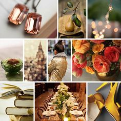 Coral, Olive and Pear Wedding Inspiration Board