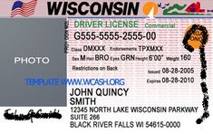 Template Wisconsin drivers license editable photoshop file .psd
