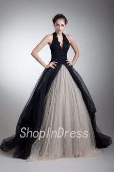 Long Black Prom Dress Ball Gown Prom Dress Organza  by ShopInDress, $250.00