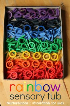 How to dye pasta for a rainbow sensory tub - plus ideas for sensory play activities for toddlers and preschool