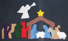 felt nativity set, printable patterns  Pattern worked well and the kids have enjoyed their nativity set. Gonna make a snowman now.