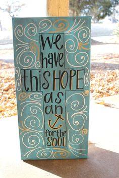 Hebrews 6:19 painting- cross and anchor on blue background with gold and silver accents (10x20). $50.00, via Etsy.