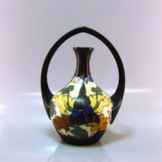 """Belgian Art deco pottery """"plateel"""" vase, CM Bergen"""