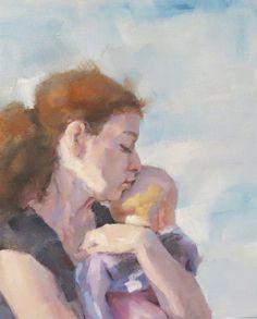 """""""Pink Love"""" oil painting of mom and baby by Jessie Rasche. You can feel the love, can't you?"""