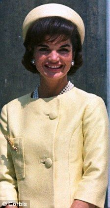 Jackie Kennedy wearing her signature 'pillbox' hat.  These became popular because of her.  (circa 1962). www.pinkpillbox.com