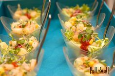 Seafood Cocktail Cups | Shrimp, bay scallops, sweet corn, red onion, cilantro and a chipotle cocktail sauce | Puff 'n Stuff Catering | Orlando Container Store VIP Grand Opening