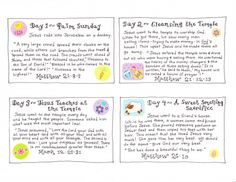 Easter story cards for each day