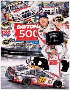 Sam Bass' artwork of Dale winning the 2014 Daytona 500