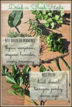Good to know! Find out more about how to use fresh and dried herbs and what they pair best with in The Homemade Mommy Handbook.