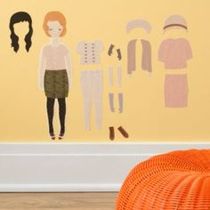 little girls, kids rooms decor, paper dolls, kids wall, wall decals