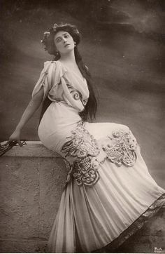 """Liane de Pougy (1869-1950), Folies Bergere dancer and courtesan rival to La Belle Otero. Lover of cocaine and heroin, she trained as an actress with Sarah Bernhardt and was lesbian lovers with writer Natalie Barney, who wrote """"Idylle Sapphique"""" about her. She married Prince Georges Ghika in 1920, and, after the death of her son in WWI, became a nun, Sister Anne-Mary, devoted to the care of children with birth defects, as well as a writer."""