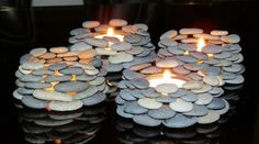 diy ideas, rock candles, gift ideas, candle holders, stone painting