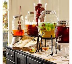 halloween parties, potteri barn, halloween drinks, dispens stand, spider, mason jars, pottery barn, appl, drink dispens