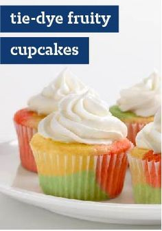 Tie-Dye Fruity Cupcakes – JELL-O Gelatin is the secret to the groovy splashed of psychedelic fun in our super-simple fruity cupcakes.