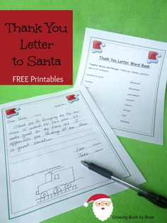 Writing Activities: Thank You Letters to Santa - Growing Book by Book
