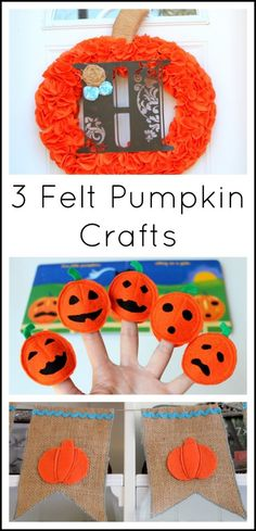 Here are three adorable felt pumpkin crafts to try this Halloween to make your home and story time festive and fun!