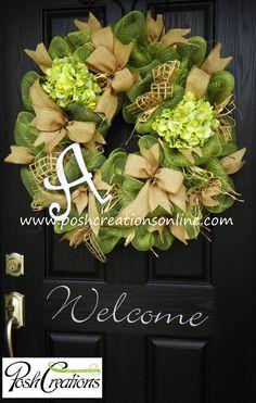 Spring Decor,, Spring Wreath,  Spring Mesh Wreath, Burlap Wreath, Deco Mesh Wreath, Door Decor, Custom initial Monogram Wreath on Etsy, $99.00