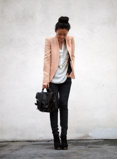 jacket, fashion, black pant, cloth, style, outfit, pink, blazers, blush