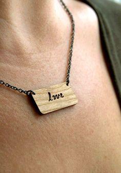 LOVE Braille Message Necklace in Cherry Wood by birdofvirtue