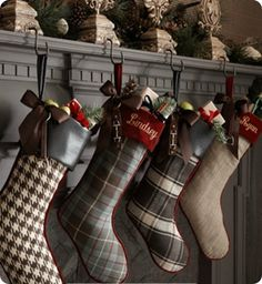 Christmas stockings at the fireplace. #PANDORAloves
