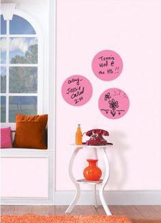 WallPops Flirt Dry Erase Dots - http://www.wallpops.com/flirt-pink-dry-erase-dot-decal.aspx #walldecals  #wallart  #peelandstick  #WallPops  #wallstickers  #decor  #DIY  #decorating