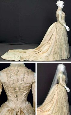 Wedding dress, E.E. Holland, Chicago, 1887. Off-white silk faille with pearl beads and embroidered net. Fitted bodice with standing collar; front has net insert from neck to waist. Bands of pearl beading are at collar, chest, bust, and hip. 3/4 sleeves with net insets at shoulders; pearl bead and lace trim at cuff. Self-fabric skirt has embroidered net overlayer; floor-length; long train of self-fabric with white lace dust ruffle. Chicago History Museum