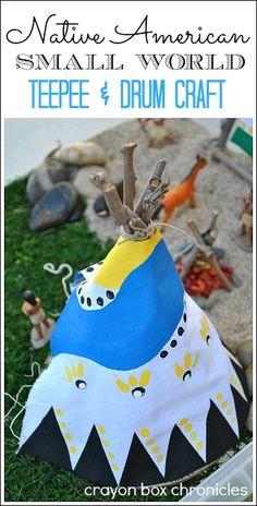 Native American Small World w/ DIY Mini-Teepee & Drum Craft by Crayon Box Chronicles