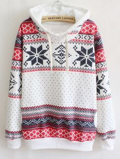 White Long Sleeve Snowflake Hooded Tribal Sweatshirt - Sheinside.com Mobile Site