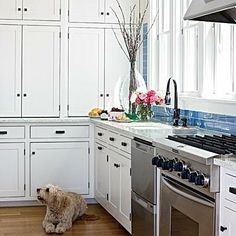 Great kitchen idea: Reflect the seaside palette with counters made of recycled glass and cement and a vibrant blue glass subway tile backsplash. Coastalliving.com