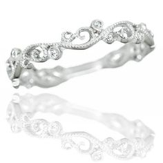 DIAMOND ART WEDDING BAND VINTAGE ESTATE WHITE GOLD RING