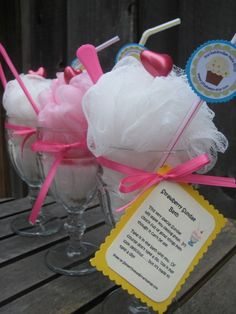 favors for a spa party maybe :) It's filled with bath beads and a loofah :) Cute!!