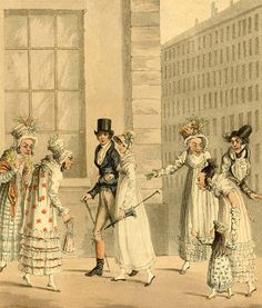 """Style Wars:  """"Voila les Anglais!"""" and depicts a pair of English tourists dressed with neatness and elegance walking, with perfect deportment, amongst a group of gawping French onlookers who are all ugly, stooping and either hostile or sneering. The print is dated March 1817"""