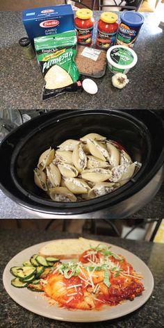 Perfect Crock Pot Sausage Stuffed Pasta Shells. Super EASY Recipe