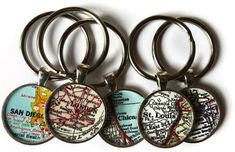 Custom keychains, personalized map keychain, Unique pendant map key chain charms for Christmas gift and stocking stuffer. $12.95, via Etsy.