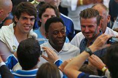 Pele, Beckham & Kaka during the World Cup Final #Brazil2014