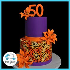 50th birthday cake with cheetah print and tiger lillies - by Blue Sheep Bake Shop, Custom Cakes in NJ - like us on facebook! https://www.facebook.com/bluesheepbakeshop