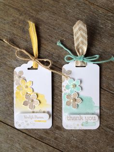 Love how the twine is tied around the ribbon on these tags!
