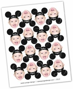 Mickey Mouse Hat Inspired Photo Cupcake Toppers - Printable File. $18.00, via Etsy.