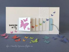 Swanlady Impressions: Butterfly waterfall card