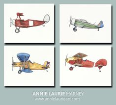 """Vintage Airplane - 8x10"""" Watercolor Prints (SET OF 4)  -  Airplane, Aviation, Plane, Helicopter"""