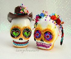 gorgeous sugar skull wedding cake toppers