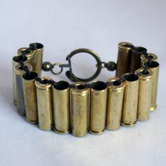 Bracelet from bullet shells.  Really????  ;)