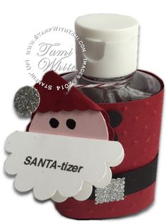 Got germs? Know someone who does? Super-hero Santa to the rescue. It's a bird, it's a plane…it's Santa-tizer! Wipe out germs with this super stinkin' cute Santa Hand Sanitizer. So fun for Christmas projects and gifts. Quick, easy and cheap to make. These hand Sanitizers came 3 for a buck at the dollar store. The video below shows they are so quick and easy to make, you'll want to make dozens for teacher gifts, stocking stuffers, and more.  #stampinup #handmade #christmas #santa