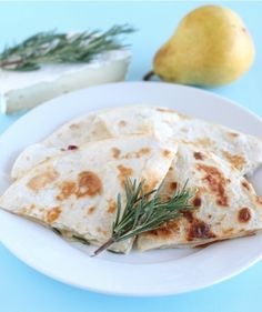 Pear, Brie, and Honey Quesadilla Recipe on twopeasandtheirpod.com Perfect for a simple lunch or dinner!