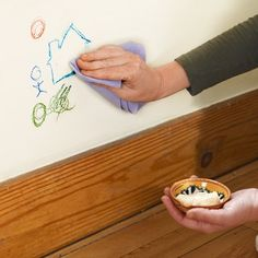 Use Mayonnaise to Erase Crayon from Walls !- wipe off with mayo and a damp cloth.= Marks will rub right off! (This works I know ! I have two 4 amp; 5 year old beauties who have just recently expanded their artistic talents),lol :)