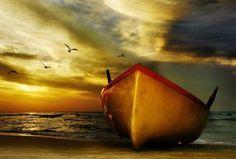 beaches, seas, color, sunset, art, boats, sail away, evenings, photographi