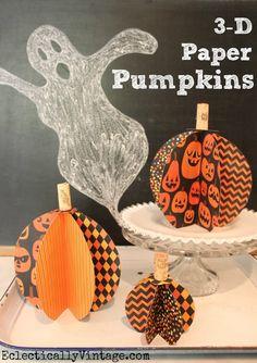 3D Paper #Pumpkin #Craft - quick and easy to make!  #12monthsofmartha #marthastewartcrafts eclecticallyvintage.com