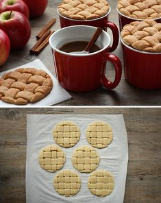 Pie crust cookies (atop apple cider)  Just use sugar cookie dough, weave the strips and use a round cookie cutter.
