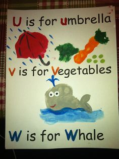 u is for umbrella, v is for veggies, w is for whale s is for spider, t is for turtle, handprint - calendar page (whale  umbrella is the palm of the hand, veggies are fingers)