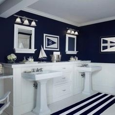 white and blue bathroom colors and nautical decor theme